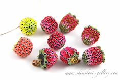 Lampwork beads, but can make from plastic bottles or polyclay? Berries    Artichoke technique went berries!:) raspberry, strawberry and wild strawberry beads/pendants by shimshoni