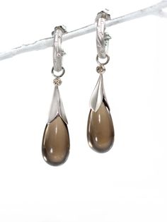 long leaf smoky quartz briolette drops in palladium with champagne diamonds