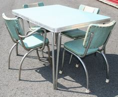 Vtg 50s FORMICA TABLE & 4 CHAIRS mid century atomic retro dinette dining chrome