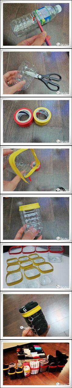 DIY Plastic Bottle Underwear Organizer DIY Plastic Bottle Underwear Organizer