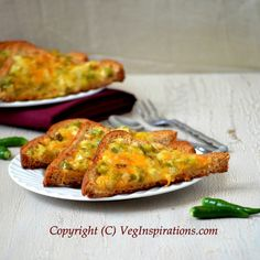 Chilli cheese toast- open sandwich with onions and bell pepper. Quick and easy anytime snack, great as a side for soup.