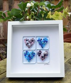 Fused Glass Pebble Heart Picture in Box Frame - Pink and Blue, handmade, birthday, valentines, gift, wedding, engagement, anniversary, mum