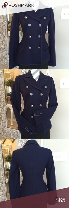 """New BB Dakota Military Pea Coat Beautiful Navy coat of 50% wool @ 50% viscose. Fully lined with antique silver buttons and silver pins on cuffs of arms. Bust is 17"""" across, sleeves are 25.5"""" long, waist is 14.5"""" across laying flat. Total length shoulder to hem is 24"""". NWOT. The extra button bag is still attached to inside label. BB Dakota Jackets & Coats"""