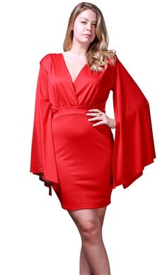 Nyteez Women s Plus Size Angel Sleeve Short V-Neck Dress -- Startling  review available 603e414e4