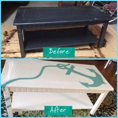 Anchor Coffee Table Redo. For many more coastal furniture makeovers, go to Completely Coastal