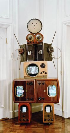 "Nam June Paik, ""Aunt 1986,"" old t.v.s, video, mixed media, © Nam June Paik Estate, Leiser Collection."