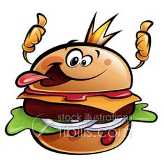 Cartoon cheese burger making a thumbs up gesture wearing a crown and sticking out tongue Illustration , Burger Cartoon, Burger Seasoning, Bbq Rub, Face Photo, Cute Animal Drawings, Shop Signs, Cartoon Styles, Disney Art, Royalty Free Images