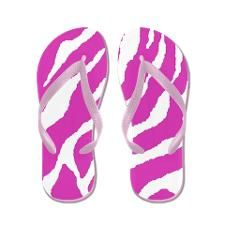 Pink and White Zebra Stripes Flip Flops