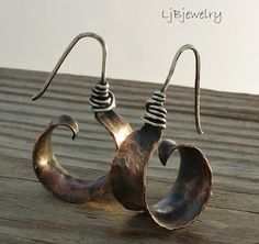 Copper Earrings, Hoop Earrings, Dangle Earrings, Mixed Metal Earrings, Concave Earrings, Earthy Organic Style