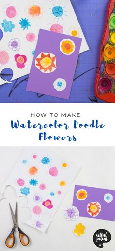 How to Make Watercolor Doodle Flowers _ Pinterest Creative Activities For Kids, Crafts For Kids To Make, Easter Crafts For Kids, Creative Kids, Doodle Flowers, Flower Doodles, Painting For Kids, Drawing For Kids, Drawing Ideas
