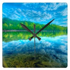 Beautiful landscape with turquoise lake,   forest clock
