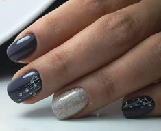 Some women love dark nail art, if your favorite hair colors are dark shades of gray, black. Cute Nail Art, Cute Nails, Pretty Nails, Nail Art Designs, Colorful Nail Designs, Dark Nail Art, Dark Nails, Winter Nails, Summer Nails