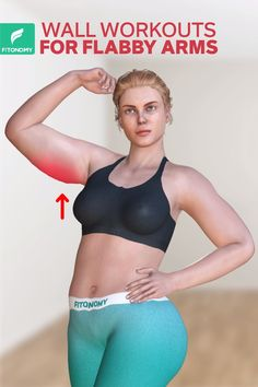 Wall workouts for flabby arms - Get rid of arm fat. To tone those flabby arms, complete these four simple wall workouts. Fitness Workouts, Fitness Herausforderungen, Gym Workout Videos, Gym Workout For Beginners, Fitness Workout For Women, At Home Workouts, Woman Workout, Workout Men, Yoga Workouts