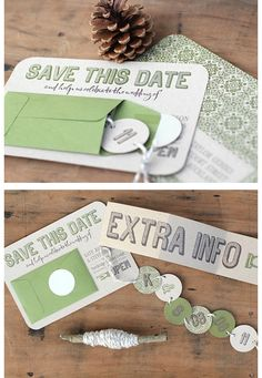 clever clever invitation idea>> I would obviously go with a different design and colors & I would incorporate an engagement photo but I love the idea of the envelope & the little banner coming out with the wedding dates!