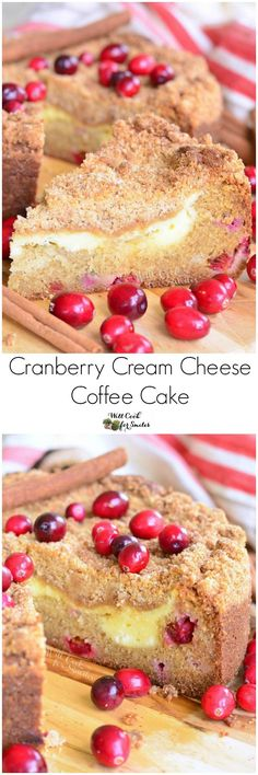 Cranberry Cream Cheese Coffee Cake. Luscious, cranberry-filled coffee cake, a layer of smooth cream cheese filling, sweet crumble on top and all spiced with cinnamon for extra flavor.