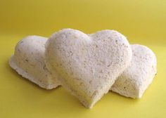 Milk & Honey Hearts~  These Hearts fizz in the tub, filling the water with soothing Oatmeal, Milk, and Honey Powders.
