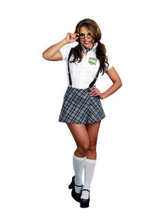 Nerdy to Naughty Ladies Schoolgirl Costume - Looking nerdy has never been so cute! This versatile costume brings you from nerdy to naughty school girl in no time. It comes with blouse, shorts, skirt, kilt pin, tie, suspenders, headband, pin and glasses. Everything you need for lots of fun this Halloween, themed party or addition to your tickle trunk. #yyc #Calgary #costume #Nerdy #SchoolGirl