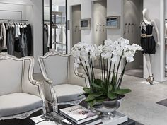 white orchids in silver - By Malene Birger Boutique, London, England