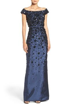 Free shipping and returns on Adrianna Papell Embellished Off the Shoulder Taffeta Gown at Nordstrom.com. Petal-inspired clusters of light-catching paillettes fade in and out of this closely tailored evening gown slit in back for freedom of movement.