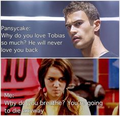 (Even though I have not read the divergent series this is really funny!)~I reposted that comment. You are not allowed to think it's funny if you have not read and cried through the books! Divergent Humor, Divergent Hunger Games, Divergent Trilogy, Divergent Insurgent Allegiant, Insurgent Quotes, Divergent Fanfiction, Veronica Roth, The Fault In Our Stars, Forever