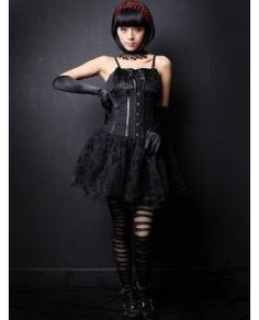 this dress has taken inspiration with the corset which is noticeably looser and the short skirt but still layered with lace giving a gothic style to the piece. Gothic Corset Dresses, Gothic Lolita Fashion, Steampunk Clothing, Fashion Today, Lolita Dress, Fashion History, Short Skirts, Lace, Collaboration