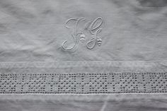 Cotton vintage sheet with hand embroidered by ReDesignandReCycled, kr200.00