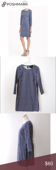 """J. Crew Jet Set Geo Dress Like new condition. Geo print. Back zipper and 2 exposed side zippers. Length 34"""" Bust laying flat 17"""" Cotton/Elastane J. Crew Dresses"""