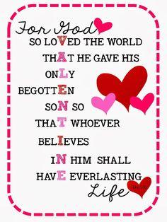 Sweet Blessings: Valentine's Sweetie Printables Day 14: John 3:16