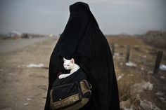 SHAQOULI, IRAQ 11/10/2016  A woman with a cat waited for transportation to a nearby village. She had fled fighting in Mosul, where Iraqi forces battled the Islamic State. Odd Andersen/Agence France-Presse — Getty Images