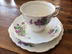 Colclough Violet Vintage Collectable BoneChina Trio Cup Saucer Plate Tea Coffee  | eBay