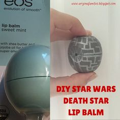 DIY STAR WARS Death Star Lip Balm http://arizonafamilies.blogspot.com/2015/09/star-wars-death-star-lip-balm-eos-diy.html