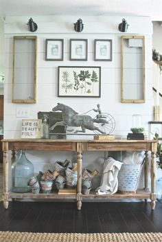 French Farmhouse Living Room- Plum Pretty Decor and Design- World Market Console Table