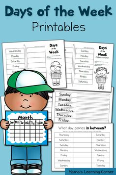 Download a 5-page set of days of the week worksheets for your young learners!