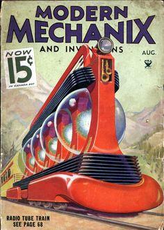 "The bizarre ""radio tube train"" from Modern Mechanix:"