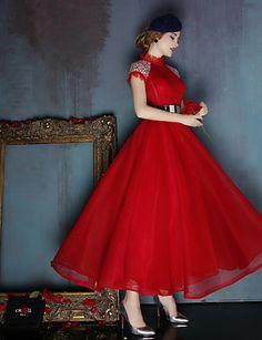 Платье - Красный/Темно-синий Бальное платье Со стойкой Длина ниже колен Спандекс 2016 – p.11 501,68