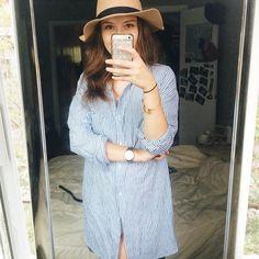 Aujourd'hui notre coup de coeur #lookdujour vient de @katherinerollin avec sa robe-chemise parfaite!  Tu veux toi aussi te retrouver en vedette sur l'accueil du site? Utilise le tag @lookdujour_ca avec le #lookdujour  #lookdujour #ldj #ootd #hat #longshirt #cute #modemtl #style #pretty #outfitideas #cestbeau #inspiration #onaime #regram  @katherinerollin