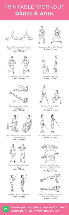 Glutes & Arms –illustrated exercise plan created at WorkoutLabs.com • Click for a printable PDF and to build your own #customworkout
