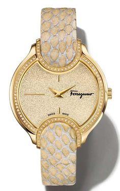 Salvatore Ferragamo Signature Analog Display Quartz Beige-Silver Watch FIZ080015, 38 mm $3,116.99.
