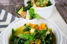 Skinny Detox Soup. Ingredients: olive oil, baby carrots, celery, turnips, onion, garlic, broth, tomatoes, cannellini and pinto beans, kale, zucchini, cilantro, s and p
