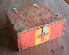 Wood First Aid Box From Construction Company  Medical by AdoAnnies