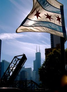 Chicago flag with Willis (Sears Tower) in the background
