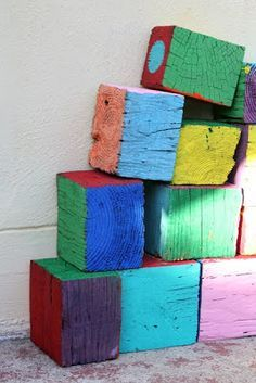 reclaimed wooden blocks as outdoor kids' toys.would let them paint 'em too. Kids Outdoor Play, Outdoor Play Spaces, Outdoor Playground, Backyard For Kids, Outdoor Fun, Outdoor Games, Outdoor Learning, Playground Ideas, Backyard Games