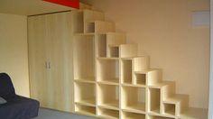 Mezzanine escalier bois aménagement gain de place