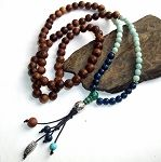Indian Rosewood Opal and Lapis Mala $66