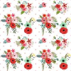 Floral Happy Pink Polka Dots fabric by shopcabin on Spoonflower - custom fabric