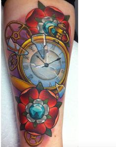 Colorful Pocket Watch Tattoo by Michelle Maddison