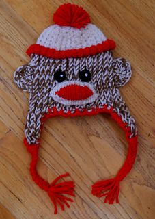 This is one of four loom knit hats (puppy, strawberry, sock monkey & candy corn) designed for Boye Loom Hat Kit for Toddler by Brenda Myers.