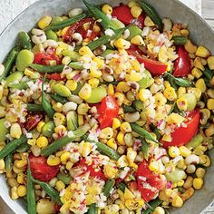 The acidity in this dish gives your palate a great reset that lets you enjoy the different levels of richness, fruitiness and sweetness in the vegetables; from Ashley Christensen. Pea Recipes, Side Dish Recipes, Vegetable Recipes, Healthy Recipes, Summer Recipes, Vegetable Sides, Healthy Potluck, Veggie Meals, Potluck Recipes