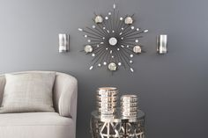 Reflective Tealight Sconce Pair and Starbust Wall Sconce from PartyLite's New Black Vanilla Range...