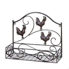 Add some functional storage space and charming country style to your kitchen dining room or beyond with this wall rack. It features three rooster cutouts a generous basket for storage or display and b